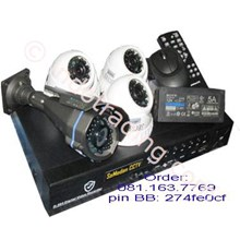 Paket Cctv Secure 4 Camera 700Tvl Ccd Sony Infrared  1Out 3Indoor