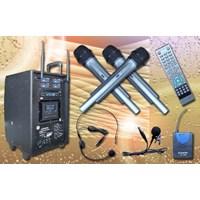 Jual Portable Wireless Amplifier Auderpro Ap-1284Pa Dvd Usb Kaset 4 Chanel Microphone Wireless Dilengkapi Dengan Trolly Garansi 1 Th