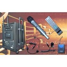 Paket Portable Wireless Amplifier Speaker Auderpro Ap1282pa Dvd Usb Kaset Berkualitas Bagus Terjamin Garansi