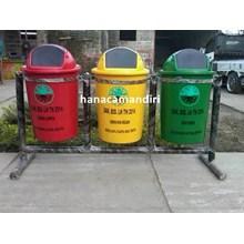tong sampah fiberglass bulat 3 pilah
