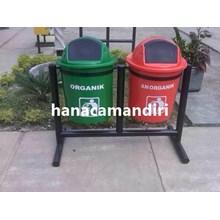 tong sampah fiberglass bulat 2 pilah