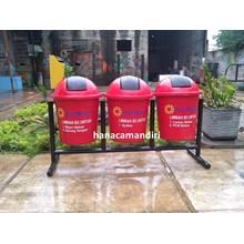 tong sampah fiberglass bulat 40 liter 3 pilah