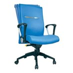 Kursi Kantor Chairman Executive Chair EC 50 BAL - Leather - Kaki Aluminium - Biru - Inden 14-30 Hari
