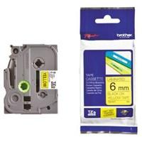 Pita Printer Brother Label Tape TZe-FX611 - 6 mm - Black on Yellow