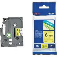 Pita Printer Brother Label Tape TZe-611 - 6 mm - Black on Yellow