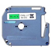 Pita Printer Brother Label Tape M-731 - 12 mm - Black on Green