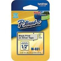Pita Printer Brother Label Tape M-931 - 12 mm - Black on Silver