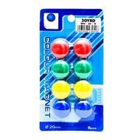Magnet Bundar Joyko MN-20-8 - Warna Campuran - 1 Karton Isi 12 Set @ 8 Magnet