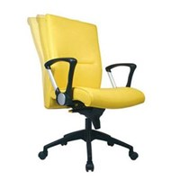 Kursi Kantor Chairman Executive Chair EC 20 AL - Leather - Kaki Aluminium - Kuning - Inden 14-30 Hari