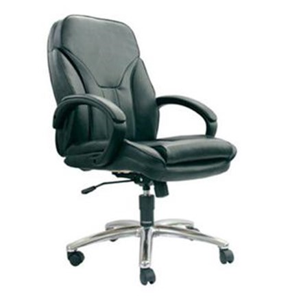 Chairman Premier Collection Kursi Kantor PC 9630 A - Leather - Kaki Aluminium - Hitam - Inden 14-30 Hari