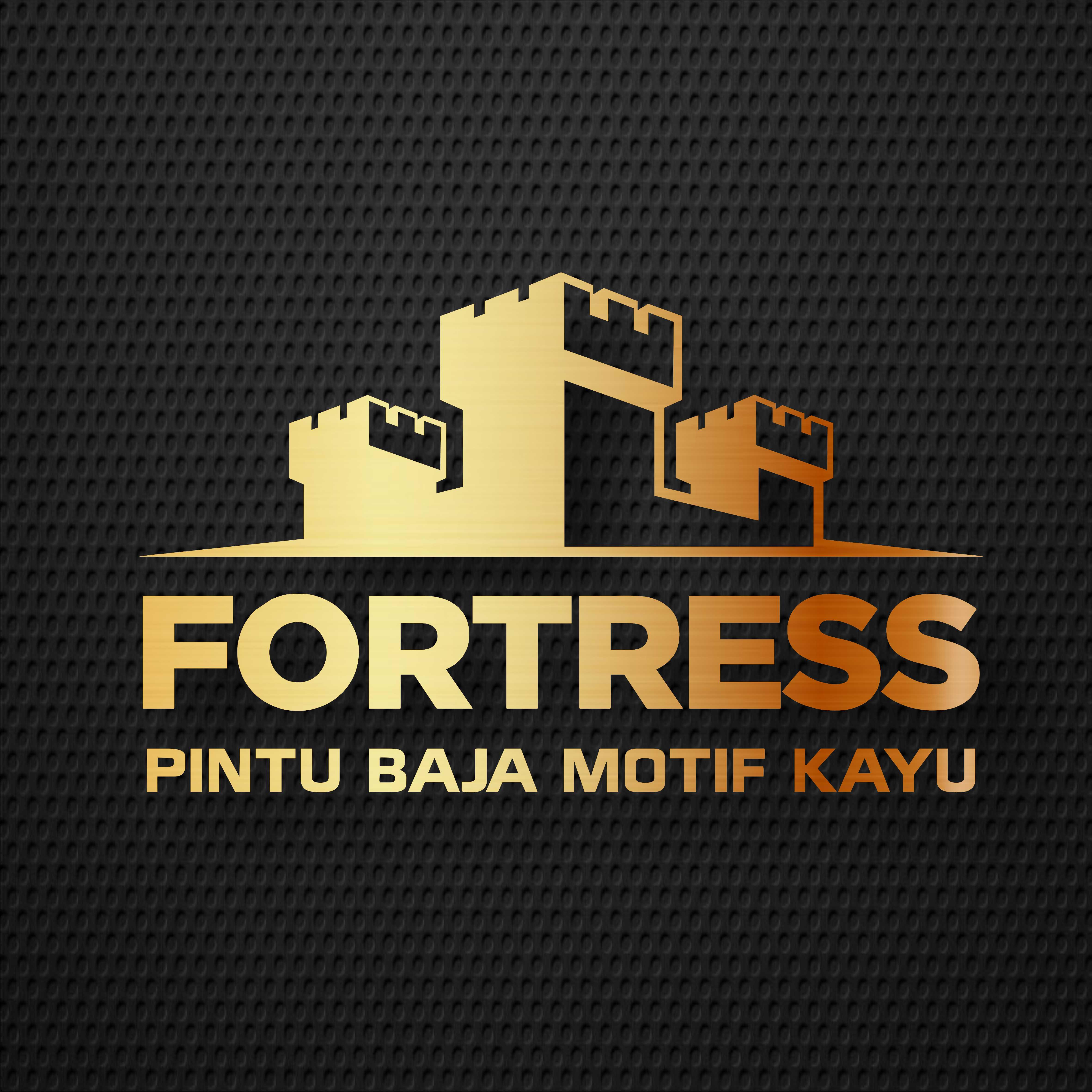 Logo FORTRESS Pintu Baja Motif Kayu