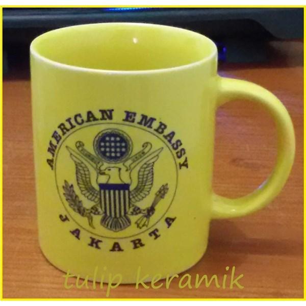 Red ceramic mug