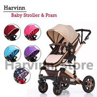Stroller Bayi Impor Kereta Dorong Baby Harvinn 2 In 1 Model Pram Dan Babystroller