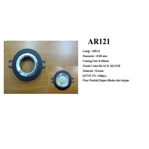 Lampu Downlight Rumah Lampu MR16 (AR121) Black Silver