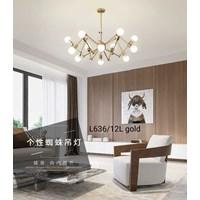 Lampu Gantung Dekoratif L-636/12L Gold  Fitting E27