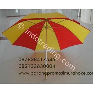 Payung Golf Ruji Putih Gagang Kayu