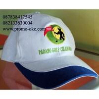Topi promosi bahan rafel warna putih biru 1