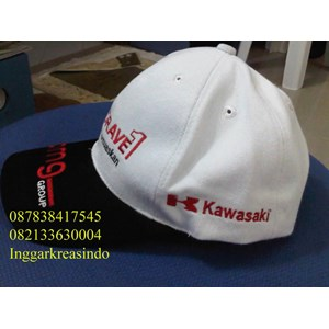 Topi promosi bahan rafel logo kawasaki