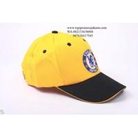 Topi promosi kuning bahan rafel . 1