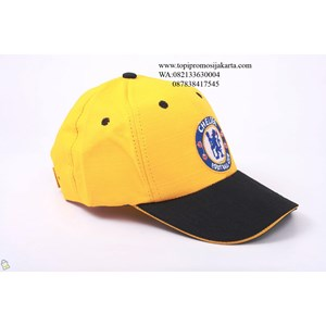 Topi promosi kuning bahan rafel .
