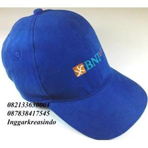 Topi promosi bahan rafel logo BNI.