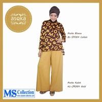Asoka Blouse & Kulot [ Bl-Sp064 Coklat Kl-Jr064 Gold ] 1