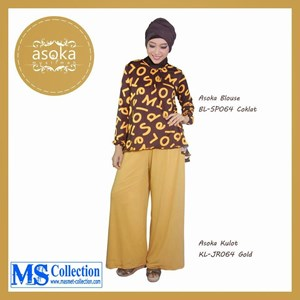 Asoka Blouse & Kulot [ Bl-Sp064 Coklat Kl-Jr064 Gold ]