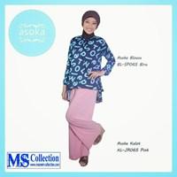 Asoka Blouse & Kulot [ Bl-Sp065 Biru Kl-Jr065 Pink ] 1