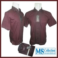 Kemeja Warler Exclusive Men'S [ WR Formal Pinggiran Maroon ]