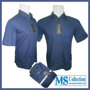 Kemeja Warler Exclusive Men'S [ WR Formal Pinggiran Biru ]