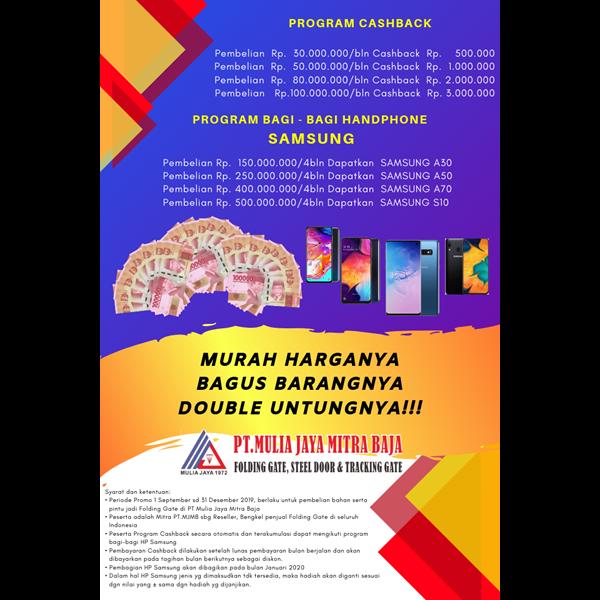 Folding Gate Standar Merah Bata PT Mulia Jaya Mitra Jaya
