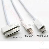 Distributor Usb Kabel Data 3 In 1 Microusb (Bb) Lightning (Iphone5 Ipad4 Ipad Mini) Apple 30Pin (Iphone4 Ipad3)  3