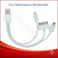 Usb Kabel Data 3 In 1 Microusb (Bb) Lightning (Iphone5 Ipad4 Ipad Mini) Apple 30Pin (Iphone4 Ipad3)  1
