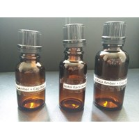 AMBER GLASS BOTTLE AND CAP BLACK FOR 3 SIZES 1