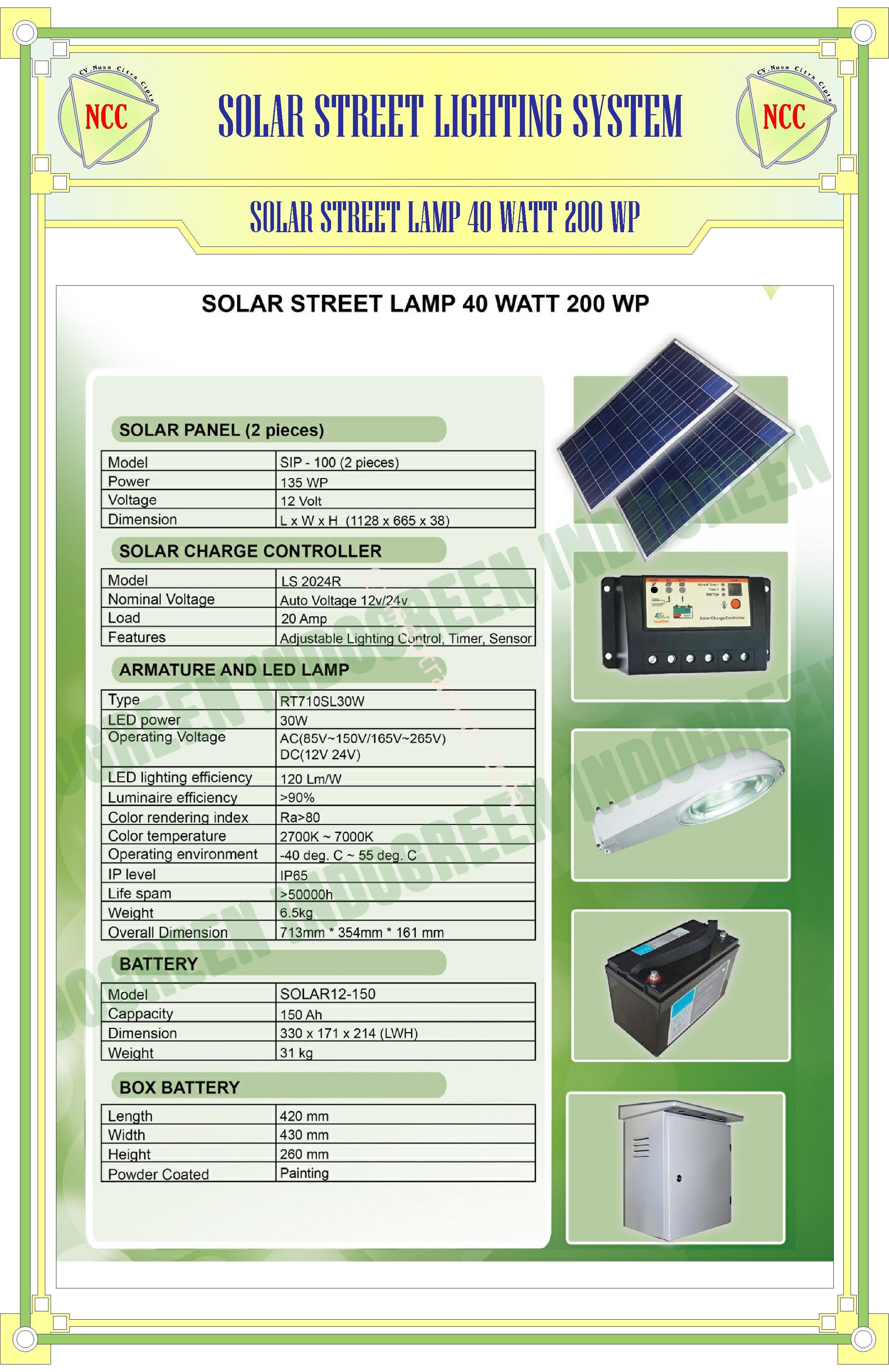 Jual Paket Pju Solar Cell 40 Watt Tenaga Surya Harga Murah