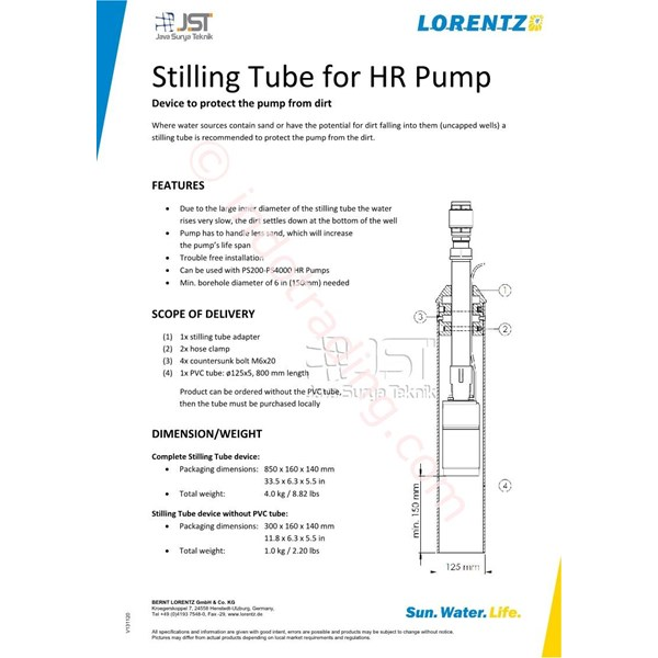 Stilling Tube For Hr Pump Lorentz