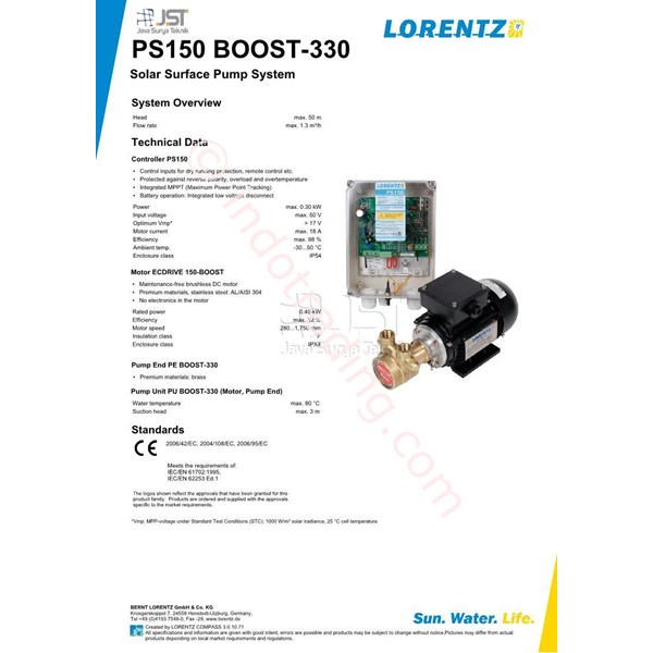 Pompa Surface LORENTZ PS150 Boost-330