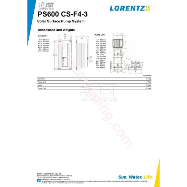 Pompa Surface Lorentz Ps600 Cs-F4-3