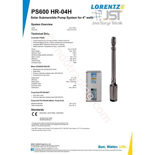 Pompa Submersible Lorentz Ps600 Hr-04H