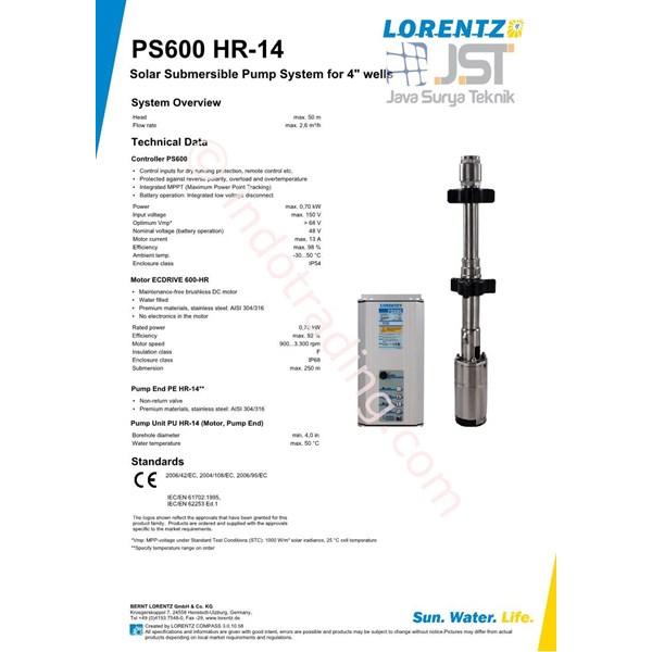 Pompa Submersible Lorentz Ps600 Hr-14
