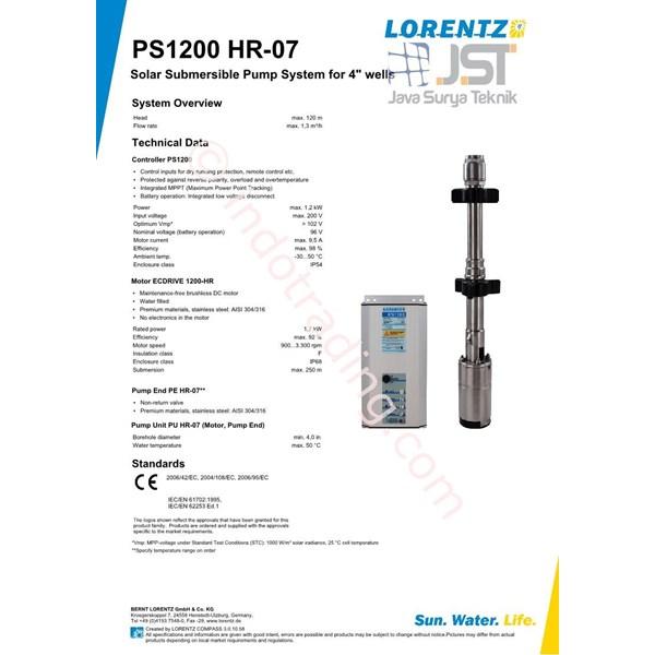 Pompa Submersible Lorentz Ps1200 Hr-07