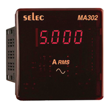 DIGITAL PANEL LED AMPERE METER 1 PHASE 2 WIRE MA302 SELEC