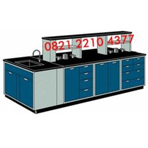 Meja Laboratorium Island Bench dengan Sink-Rack