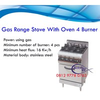 Gas Range Stove With Oven 4 Burner