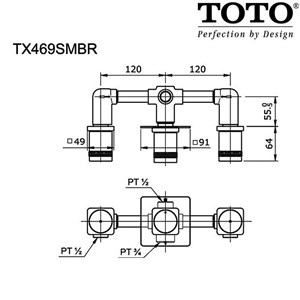 TOTO Stop Valve Hot and Cool TX469SMBR