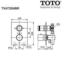 Jual TOTO Shower Mixer w/Diverter & Stop Valve 2