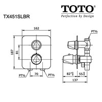 TOTO TX451SLBR  Shower Mixer w/Diverter & Stop Valve 1