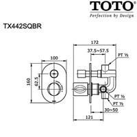 Jual TOTO TX442SQBR  Shower Mixer w/Diverter & Stop Valve 2