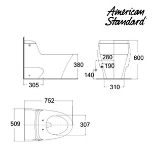 Toilet American Standard (One Piece Toilet Model IDS Dynamic tipe HA18YNC10-A)