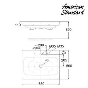 Wastafel American Standard ( Wall Hung Lavatory 650mm Model IDS Dynamic tipe LA18P2C10-A)